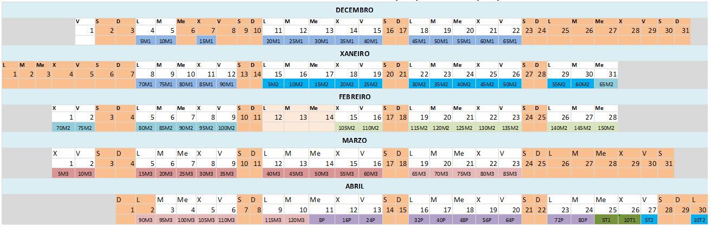 Calendario do Curso