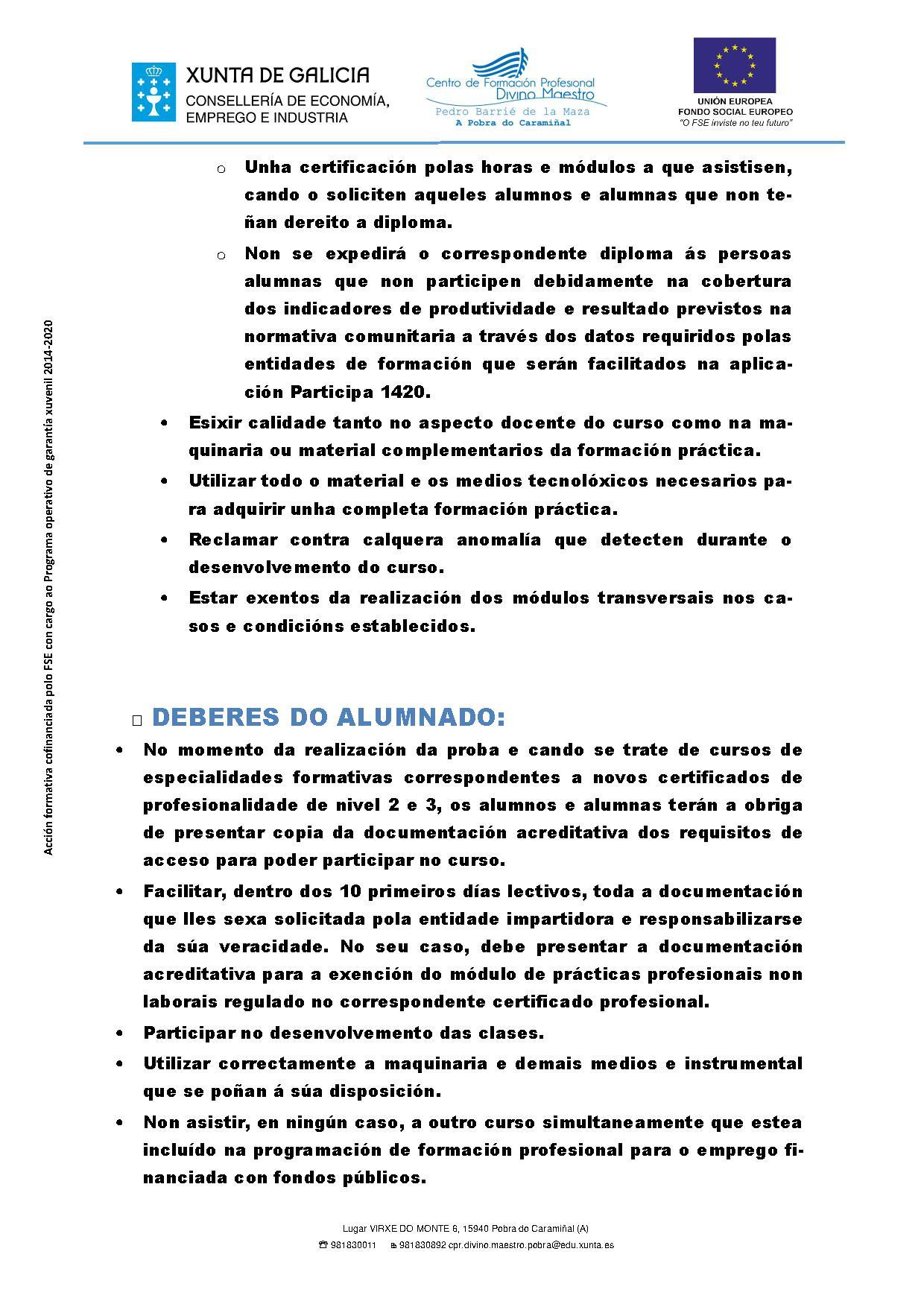 Dereitos e deberes do alumnado e dos centros de formación